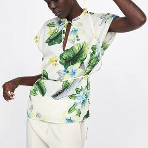 Zara Floral Blouse Green White M